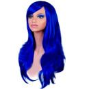Lange Perücke in Dunkel-Blau 70cm + Haarnetz  Kunsthaar