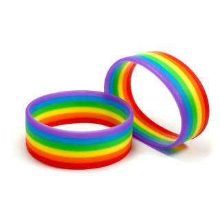 10 Regenbogen Silikon-Armbänder Horizontal