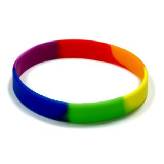 10 Regenbogen Silikon-Armbänder Vertikal