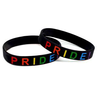 Armband schwarz mit PRIDE! Schriftzug dünn 12mm