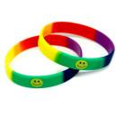 Armband Regenbogenfarben + Smiley-Symbol 12mm