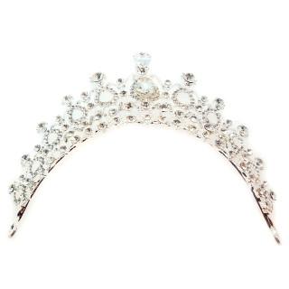 Silberfarbene Strass-Krone 6cm hoch für Queens