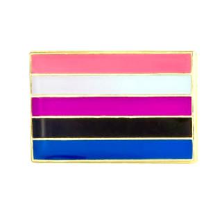 Genderfluid-Flagge Anstecker als Rechteck LGBT