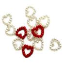 50 Perlen Herz-Konfetti in Rosa 1cm Durchmesser