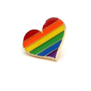 Regenbogen-Herz mit Butterfly Clip 2,5cm Pride Stolz