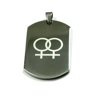 Silberfarbener Anhänger doppel-Symbole Weiblich