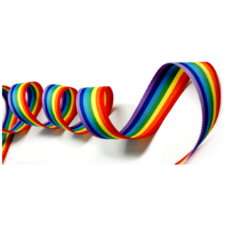 Regenbogen 25mm Stoffband Doppelseitig