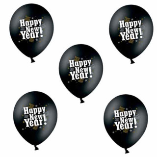 5 Happy-New-Year! Ballons in Schwarz und Gold