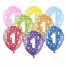 Bunte Ballons 1. Geburtstag mit Zahlen Gelb