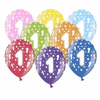 Bunte Ballons 1. Geburtstag mit Zahlen Rosa