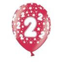 Bunte Ballons 2. Geburtstag mit Zahlen Rot