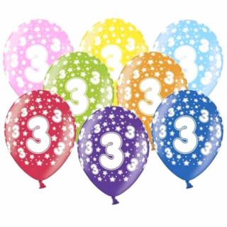 Bunte Ballons 3. Geburtstag mit Zahlen Orange