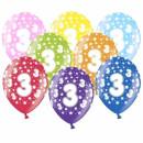 Bunte Ballons 3. Geburtstag mit Zahlen Rosa