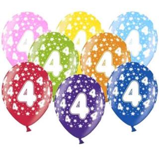 10 Bunte Ballons 4. Geburtstag mit Zahlen Gelb