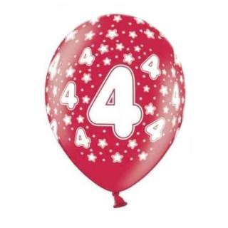 10 Bunte Ballons 4. Geburtstag mit Zahlen Rot