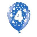 10 Bunte Ballons 4. Geburtstag mit Zahlen Dunkel-Blau