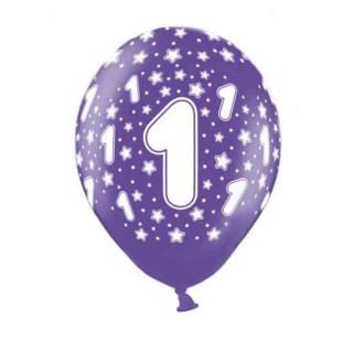 10 Bunte Ballons 1. Geburtstag mit Zahlen Lila