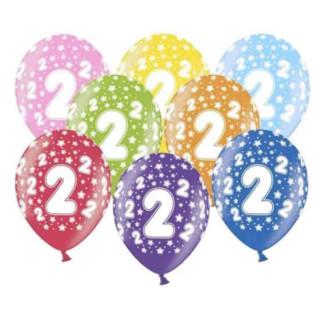 10 Bunte Ballons 2. Geburtstag mit Zahlen Gelb