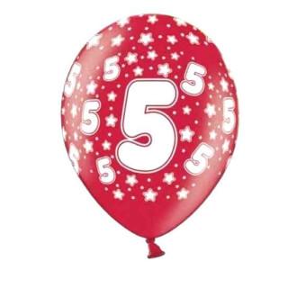 Bunte Ballons 5. Geburtstag mit Zahlen Rot