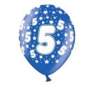Bunte Ballons 5. Geburtstag mit Zahlen Dunkel-Blau