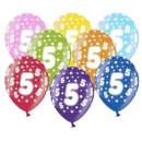 Bunte Ballons 5. Geburtstag mit Zahlen Hell-Blau