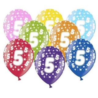 10 Bunte Ballons 5. Geburtstag mit Zahlen Gelb