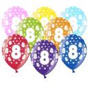 Bunte Ballons 8. Geburtstag mit Zahlen Gelb