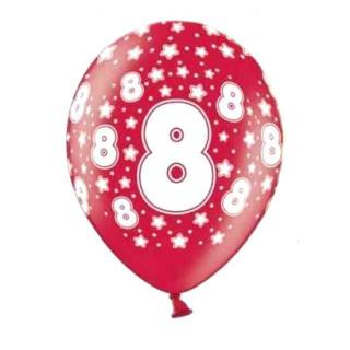 Bunte Ballons 8. Geburtstag mit Zahlen Rot