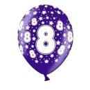 Bunte Ballons 8. Geburtstag mit Zahlen Lila
