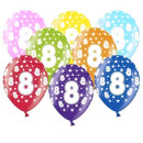 Bunte Ballons 8. Geburtstag mit Zahlen Rosa
