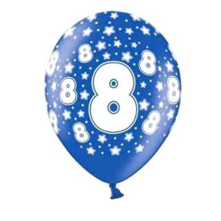 10 Bunte Ballons 8. Geburtstag mit Zahlen Dunkel-Blau