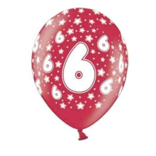 Bunte Ballons 6. Geburtstag mit Zahlen Rot