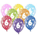 Bunte Ballons 6. Geburtstag mit Zahlen Dunkel-Blau