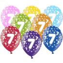 Bunte Ballons 7. Geburtstag mit Zahlen Orange