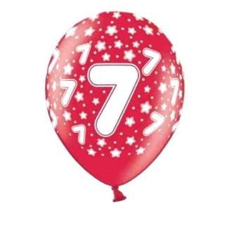 Bunte Ballons 7. Geburtstag mit Zahlen Rot