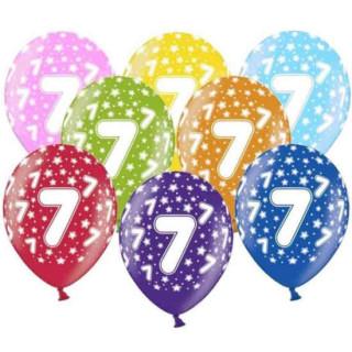 10 Bunte Ballons 7. Geburtstag mit Zahlen Orange
