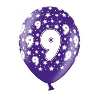 Lila Ballons 9. Geburtstag mit weißen Zahlen