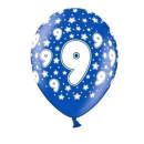 Blaue Ballons 9. Geburtstag mit weißen Zahlen