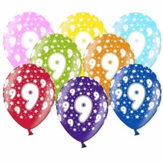 10 Bunte Ballons 9. Geburtstag im Farbmix weiße Zahlen