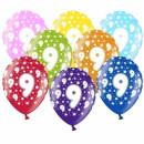 10 Bunte Ballons 9. Geburtstag Gelb mit weißen Zahlen