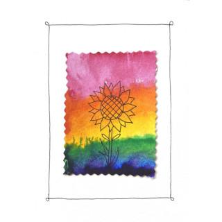 Kathl´s LGBT-Klappkarte Sonnenblume im Regenbogen 10 x 15cm