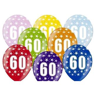 5 Farbige Ballons 60. Geburtstag Gelb mit weißen Zahlen