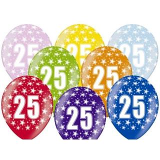 5 Farbige Ballons 25. Geburtstag Rosa mit Zahlen