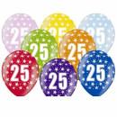 5 Farbige Ballons 25. Geburtstag Mix Gold-Silber mit Zahlen
