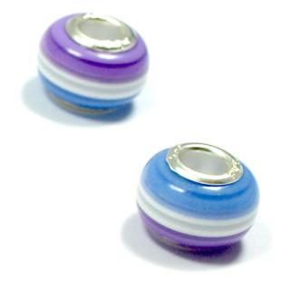 Perlen Anhänger Blau-Weiß-Lila gestreift