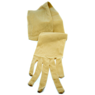 Nahtlose Nylon Handschuhe stretch Beige Hautfarben Drag