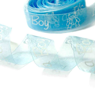 """Baby-Party Geschenkband Transparent 25mm """"Its a Boy"""""""