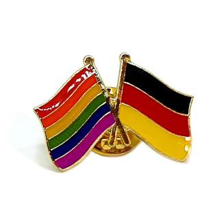 Doppel-Flaggen-Pin Regenbogen + Deutschland