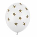 Weiße Ballons + goldfarbene Sterne