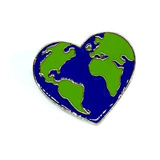 Umwelt-Herz mit Butterfly Clip 2,6cm Erde- Herz Welt